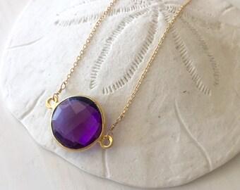 Vibrant round amethyst quartz bezel necklace / gold vermeil  bezel set amethyst / simple amethyst necklace