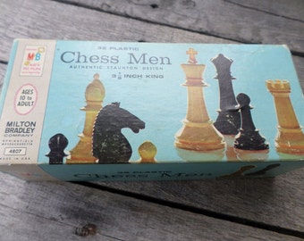 Chess Men Staunton Design vintage 1969  3 1/8 inch King No 4807 Vintage Milton Bradley set of 32 Plastic chess pieces with rules of Chess