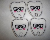 Feltie Machine Embroidered Hand made (4) Felt Smarty Tooth CUT Embellishments / appliques
