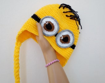 With faster shipping,Minion Hats-Earflap minion hat-Crochet Minion Hat-halloween-twins-adult-two eyes-Baby or Toddler-halloween outfits