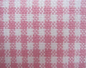 Curtain Valance, Window Curtain, Pink and White Woven Cotton Gingham Check Curtain Valance 50 x 16