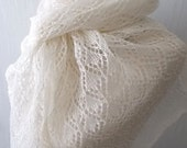 Linen Scarf Ivory White Shawl Knitted Natural Summer Wedding Wrap