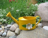 Vintage Metal Watering Can by Teleflora, Sunny Yellow Flower Pot Planter, Garden & Potting Shed Decor