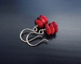 Coral Earrings, Red Coral, Dangle Earrings, 14kt Gold Filled