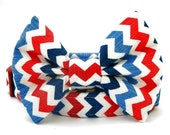 Red White and Blue Chevron Bow Tie Dog Collar