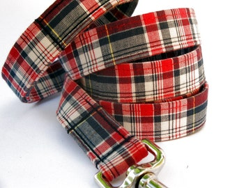 Plaid Dog Leash - Americana Plaid in Red, White and Blue