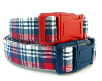 Red White and Blue Plaid Dog Collar, Memorial Day Dog Collar, 4th of July Dog Collar, Labor Day Dog Collar, Patriotic Plaid Dog Collar