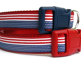 Stars and Stripes Dog Collar in Red White and Blue