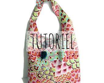 Tutoriel du sac Julie, avec sa anse nouée pour un porté épaule,spécialement conçu pour les débutantes en couture