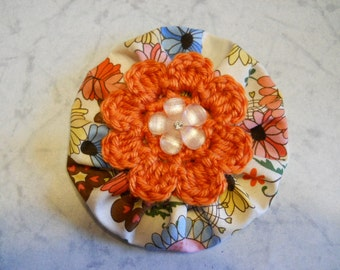 Fabric Flower in Bright Colors with Orange Crochet Flower and Peach Flower in the Center