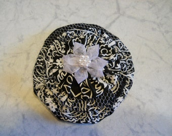 Fabric Flower in Black and White Bandanna Fabric with Sheer Center Flower