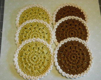 Coasters Set of 6 Crochet in Chocolate Brown and Light Green Colors