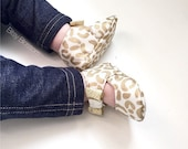 Gold Baby Shoes Infant Shoes Newborn Shoes Crib Shoes Baby Booties Soft Sole Shoes Toddler Shoes Cream Shoes- Golden Creme Cheetah