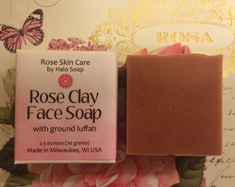 Rose Clay Face Soap + Ground Luffah