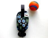 Dog Poop Bag Holder  - Eco Friendly, Reuse Your Shopping Bags - Black Flowers