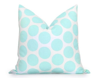 Dots Pillow Cover - Mint Green and White - Decorative Pillow - Throw Pillow - Accent Pillow - Throw Pillow - Polka Dots - Spots Pillow