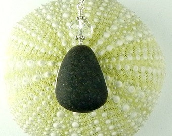 Beach Jewelry GENUINE Black Sea Glass Statement Necklace RARE Wire Wrapped In Sterling Silver With Crystal