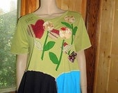 One of a Kind Reconstructed Tunic/Top/Large/XLarge/Upcycled Clothing/Bohemian/Junk Gypsy