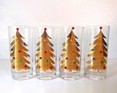 Culver 22k Gold Christmas Tree Glasses Set of 4