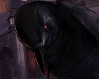 Nevermore - Raven / Crow - Edgar Allan Poe - 4X10 Original Art Print