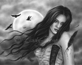 Lost in solitude Birds Raven Beauty Gothic Emo Girl Art Print Glossy Zindy Nielsen