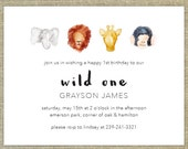 Wild One First Birthday invitations, safari, watercolor, 15 w/ envelopes and rtn address printing