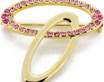 Golden Pink Oval Swarovski Crystal Pin Brooch 1011542