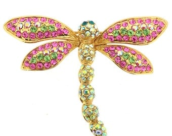Pink Dragonfly Crystal Pin Brooch 1013071