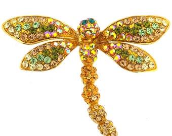 Golden Dragonfly Crystal Pin Brooch 1013072