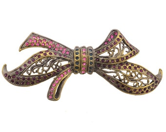 Vintagestyle Crystal Bow Pin Brooch 1004301