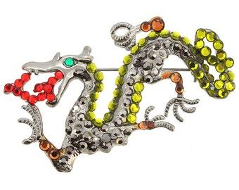 Green And Black Chinese Dragon Pin Brooch 1004352