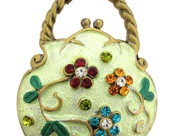Light Green Flower Handbag Pin Brooch 1013231