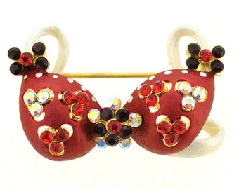 Red Flower Bra Bikini Crystal Pin Brooch And Pendant 1013302
