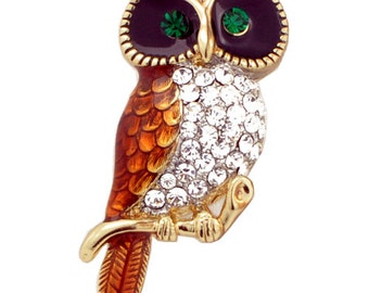 Owl Enamel Bird Pin Brooch 1003142