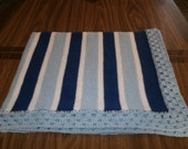 Knit Royal & Light Blue Baby Blanket / Afghan / Lapghan With Crochet Trim