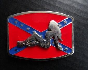 Vintage Trucker Chick  Belt Buckle Silver
