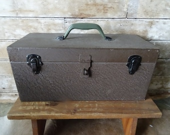Vintage Brown Chic Metal Industrial Tool Box