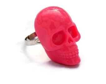 Large Hot Pink Womens Skull Ring