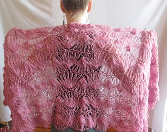 Thin Pale Pink Loom Knitted Cashmere Scarf