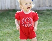 4th of July Romper, Monogrammed Romper, Baby Romper, Toddler Girl Boutique, Red Romper, Beach Outfit