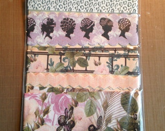 Webster's Pages Fabric Ribbons in Green, Purple & Black - New In Package