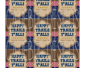 Cowboy Western Birthday Baby Shower Thank You Favor Tags