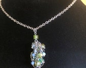 Multi Crystal Cluster Necklace on Silver Figaro Chain