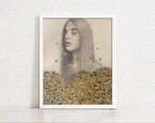 Contentedness, In Golden Chrysanthemum Garden - 11x14 Original Portrait Drawing, Graphite, Ink & Pastel on Paper - Realistic Surrealism Art