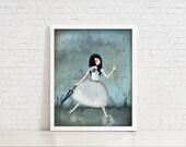 In The Rain - 11x14 Illustration Print - Digital Illustration of Girl Let The Rain Wash Away Her Blue Mood