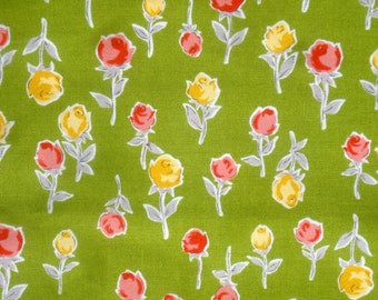 SALE : Retoro Pop roses on green Lecien fabric FQ or more