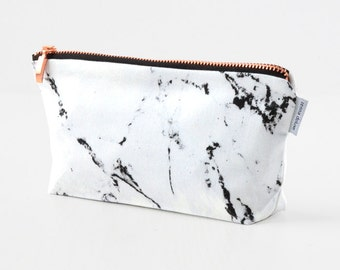 MARBLE bag // white marble makeup bag pouch case rose gold copper zipper black marble made by renna deluxe
