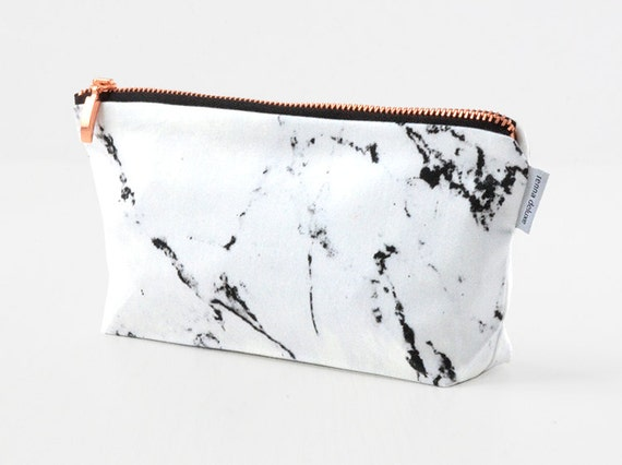 MÁRMOL bolsa / funda bolso de maquillaje de mármol blanca rosa mármol de oro cobre cremallera negro hecho por renna deluxe