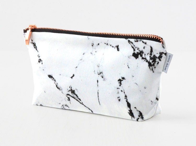 Makeup Bag White Marble Make Up Bag Pencil Case Rose Gold