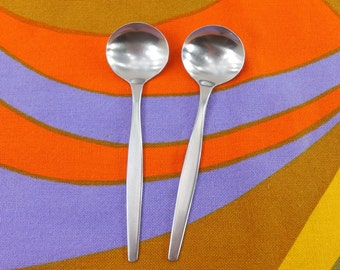 2 Gense Sweden FOCUS Stainless Round Soup Spoons